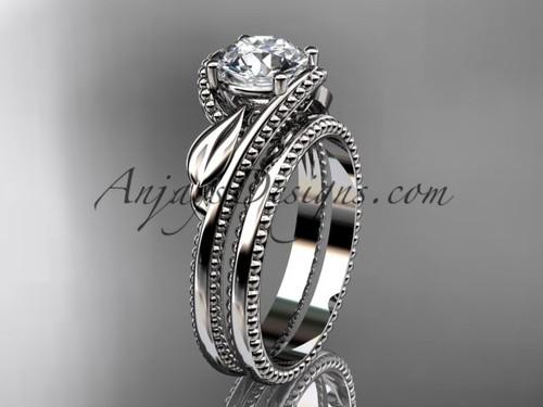 Leaf Wedding Ring Set White Gold Engagement Ring ADLR322S