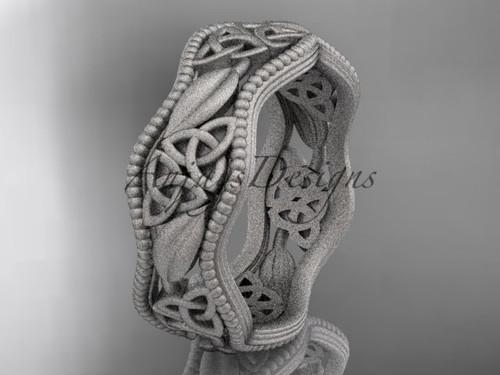 14kt white gold celtic trinity knot wedding band, matte finish wedding band, engagement ring CT7508G