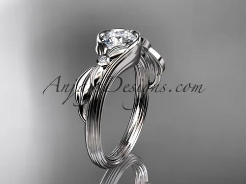 Moissanite White Gold Flower Unusual Engagement Ring ADLR324