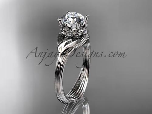 "14kt white gold diamond flower, leaf and vine wedding ring, engagement ring with a ""Forever One"" Moissanite center stone ADLR240"