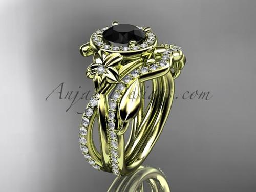 14kt yellow gold diamond leaf and vine, flower engagement set, wedding set,  with a Black Diamond center stone ADLR89S