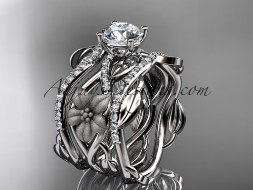Unique 14kt white gold floral diamond wedding ring, engagement ring and double matching band ADLR270S