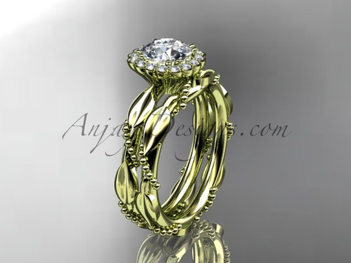 "14kt yellow gold diamond leaf and vine wedding set, engagement set with a ""Forever One"" Moissanite center stone ADLR337"