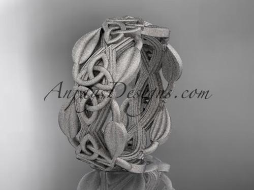 White Matte Gold Celtic Wedding Band, Leaf Ring CT7259B