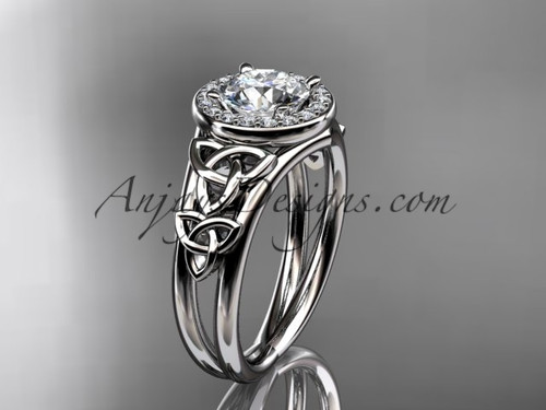 """14kt white gold diamond celtic trinity knot wedding ring, engagement ring with a """"Forever One"""" Moissanite center stone CT7131"""