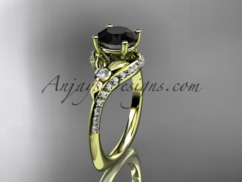 14kt yellow gold diamond leaf and vine engagement ring with a Black Diamond center stone ADLR112