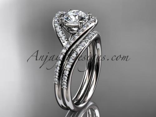 "14kt white gold diamond wedding ring, engagement set with a ""Forever One"" Moissanite center stone ADLR383S"