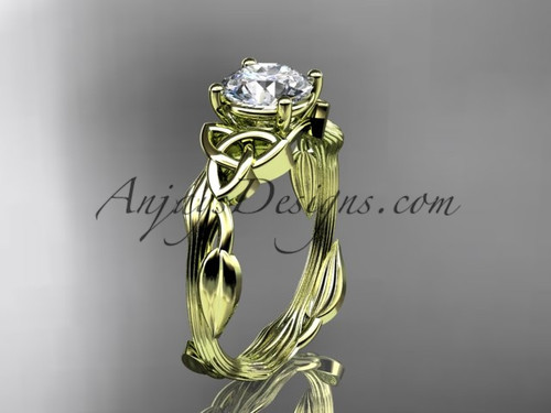 Celtic Wedding Rings 14Kt Yellow Gold Moissanite Ring CT7251