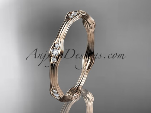 14k rose gold diamond vine wedding band, engagement ring ADLR21AB