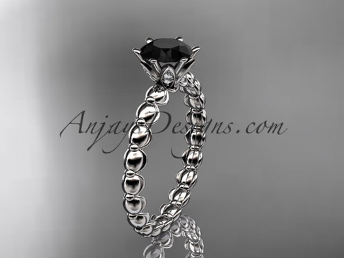 14k white gold diamond vine and leaf wedding ring, engagement ring with  Black Diamond center stone ADLR34