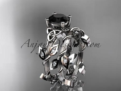 platinum diamond celtic trinity knot wedding ring, engagement ring with a Black Diamond center stone CT7215S