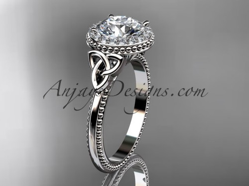"""14kt white gold diamond celtic trinity knot wedding ring, engagement ring with a """"Forever One"""" Moissanite center stone CT7157"""