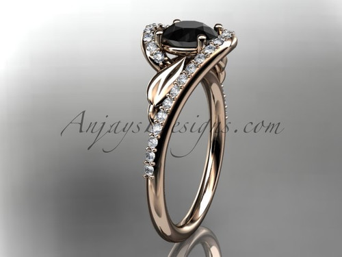 14k rose gold diamond leaf and vine wedding ring, engagement ring with a Black Diamond center stone ADLR317
