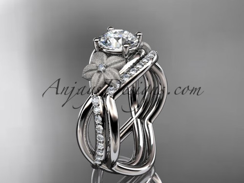 14k white gold diamond leaf and vine wedding ring, engagement set ADLR90S