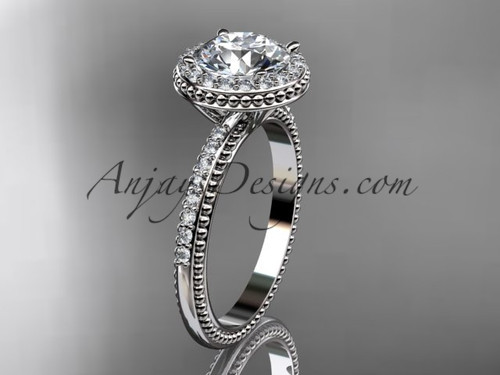 """Platinum diamond unique engagement ring,  wedding ring with a """"Forever One"""" Moissanite center stone ADER95"""