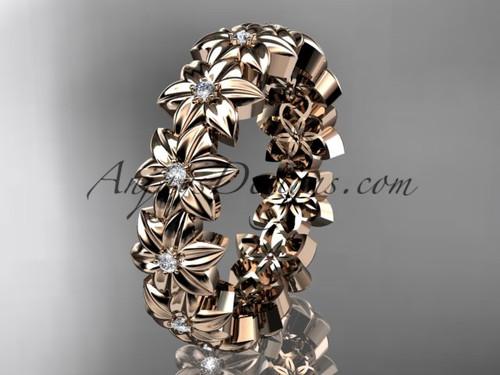 14kt rose gold diamond flower wedding ring, engagement ring, wedding band ADLR57B