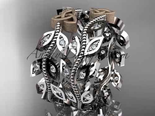two-tone platinum diamond celtic trinity knot, leaf and vine wedding ring, engagement set, wedding band CT7162B