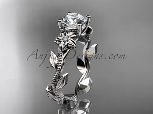 Moissanite White Gold Ring Design for Female Unique Diamond Engagement rings ADLR238
