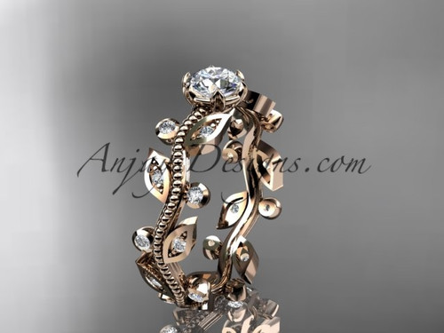 "14k rose gold diamond floral leaf and vine wedding ring, engagement ring with a ""Forever One"" Moissanite center stone ADLR1"