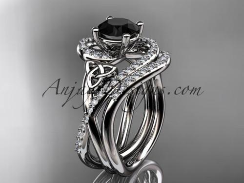 14kt white gold diamond celtic trinity knot wedding ring, engagement set with a Black Diamond center stone CT7320S