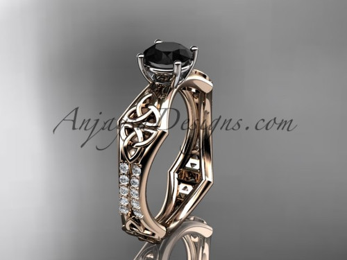 14kt rose gold diamond celtic trinity ring,  triquetra ring, engagement  ring with a  Black Diamond center stone CT7353