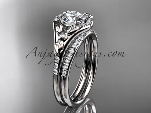 "14kt white gold diamond floral wedding ring, engagement set with a ""Forever One"" Moissanite center stone ADLR126S"