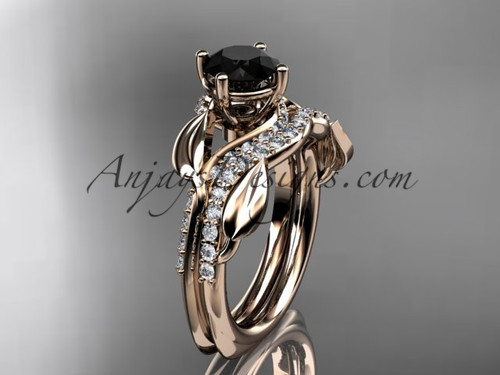 Unique 14k rose gold diamond  leaf wedding ring, engagement set with a Black Diamond center stone ADLR225S