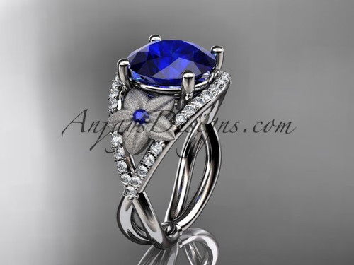Blue Sapphire Engagement Ring , Flower wedding Ring ADLR167