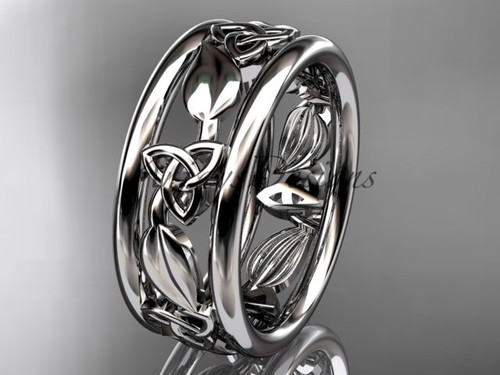 platinum celtic trinity knot wedding band, engagement  ring CT7233G