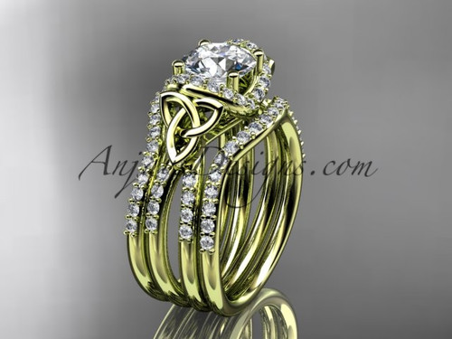 Matching Wedding Band Sets, Yellow Gold Celtic Triquetra Ring CT7155S