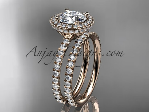 """14kt rose gold diamond unique wedding ring, engagement set with a """"Forever One"""" Moissanite center stone ADER106S"""