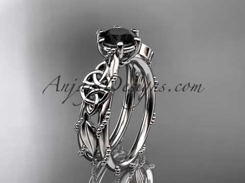 platinum celtic trinity knot engagement ring , wedding ring with a Black Diamond center stone CT766