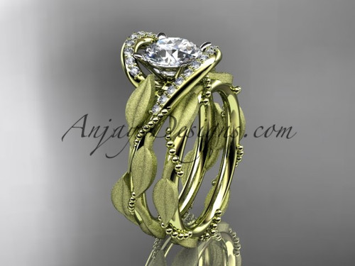 Vine and Leaf Engagement Ring Set Yellow Gold Ring ADLR64S