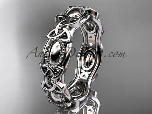 14kt white gold celtic trinity knot wedding band, engagement ring CT7152G