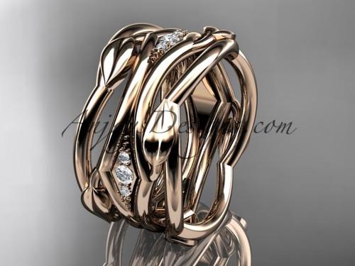 Beautiful Rose Gold Diamond Leaf Wedding Band ADLR351B
