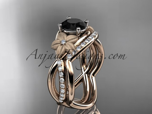 14k rose gold diamond leaf and vine wedding ring, engagement set with a Black Diamond center stone ADLR90S