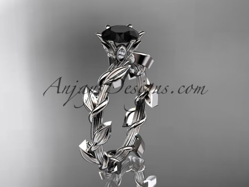 Unique Platinum diamond floral wedding ring,engagement ring with a Black Diamond center stone ADLR248