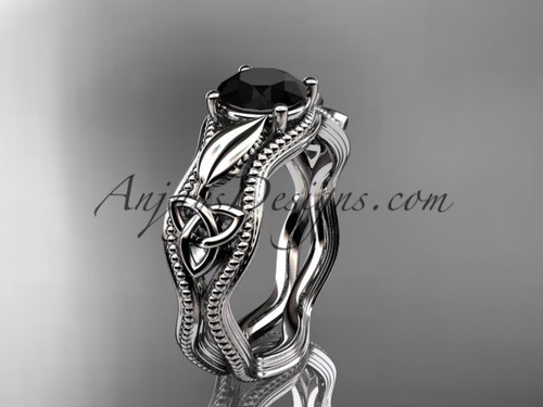 Irish Celtic Bridal Ring, White Gold Black Diamond Ring CT7382