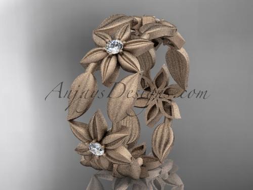 14kt rose gold diamond leaf and vine, flower wedding ring, engagement ring, wedding band ADLR344