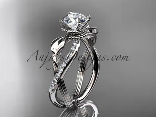 Flower Engagement Ring - Platinum Leaf Ring ADLR70