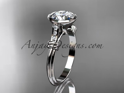 "14k white gold diamond leaf and vine wedding ring,engagement ring with  ""Forever One"" Moissanite center stone ADLR23"