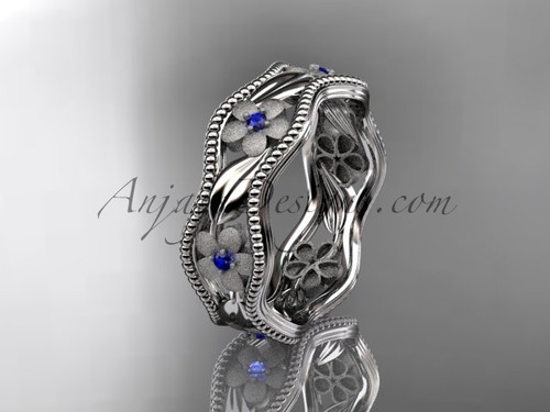 14kt white gold blue sapphires  flower wedding ring, engagement ring, wedding band ADLR190B