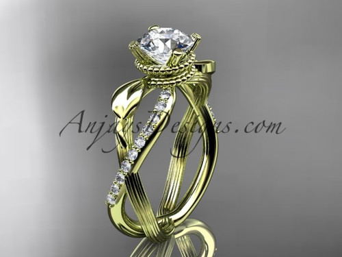 Flower Engagement Ring - Yellow Gold Leaf Ring ADLR70