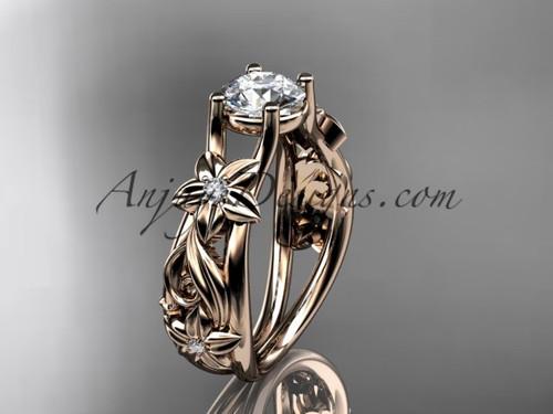 Flower Engagement Ring 14kt Rose Gold Bridal Ring ADLR216