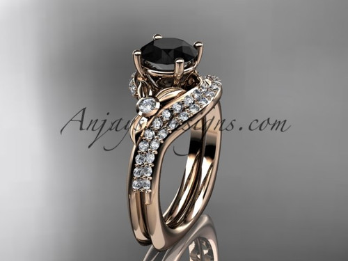 14kt rose gold diamond leaf and vine engagement ring set with a Black Diamond center stone ADLR112S