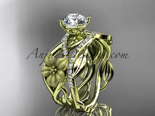 Unique Marriage Ring Yellow Gold Flower Bridal Set ADLR270S
