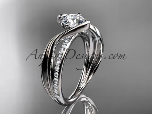 "14kt white gold diamond leaf and vine wedding ring, engagement ring with  ""Forever One"" Moissanite center stone ADLR78"