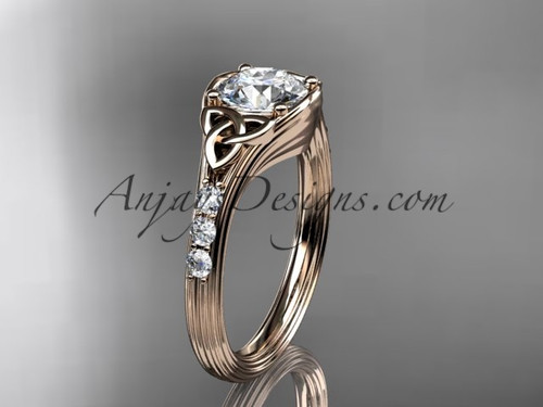 Moissanite Trinity Knot Rose Gold Wedding Rings CT7333
