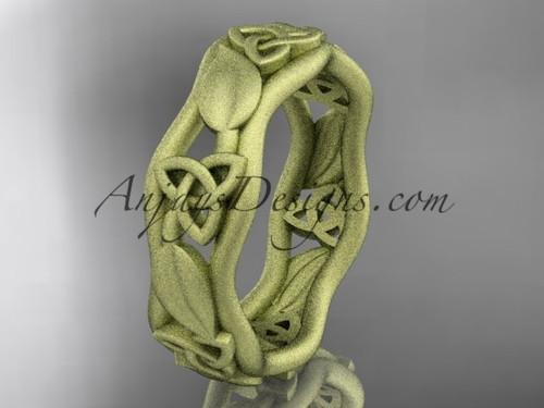 14kt yellow gold celtic matte finish trinity knot engagement ring, wedding band CT7105B