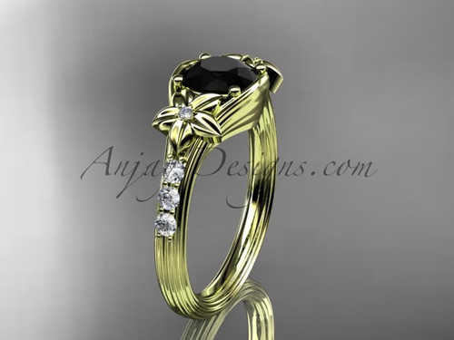 Unique 14k yellow gold diamond leaf and vine, floral diamond engagement ring with a Black Diamond center stone ADLR333